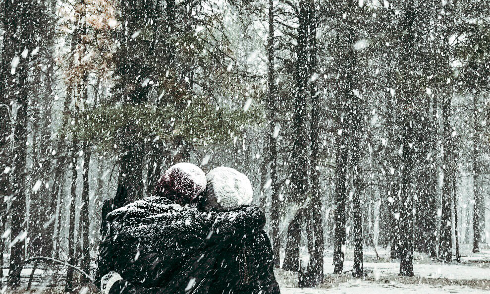 Two people hugging in the forest while it snows
