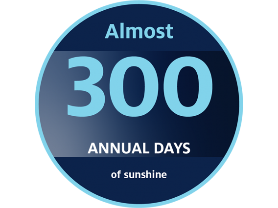 Button - Almost 300 annual days of sunshine