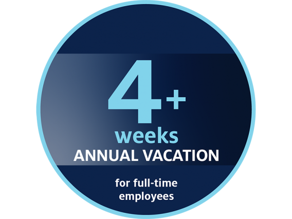 More than four weeks of annual vacation for full-time employees