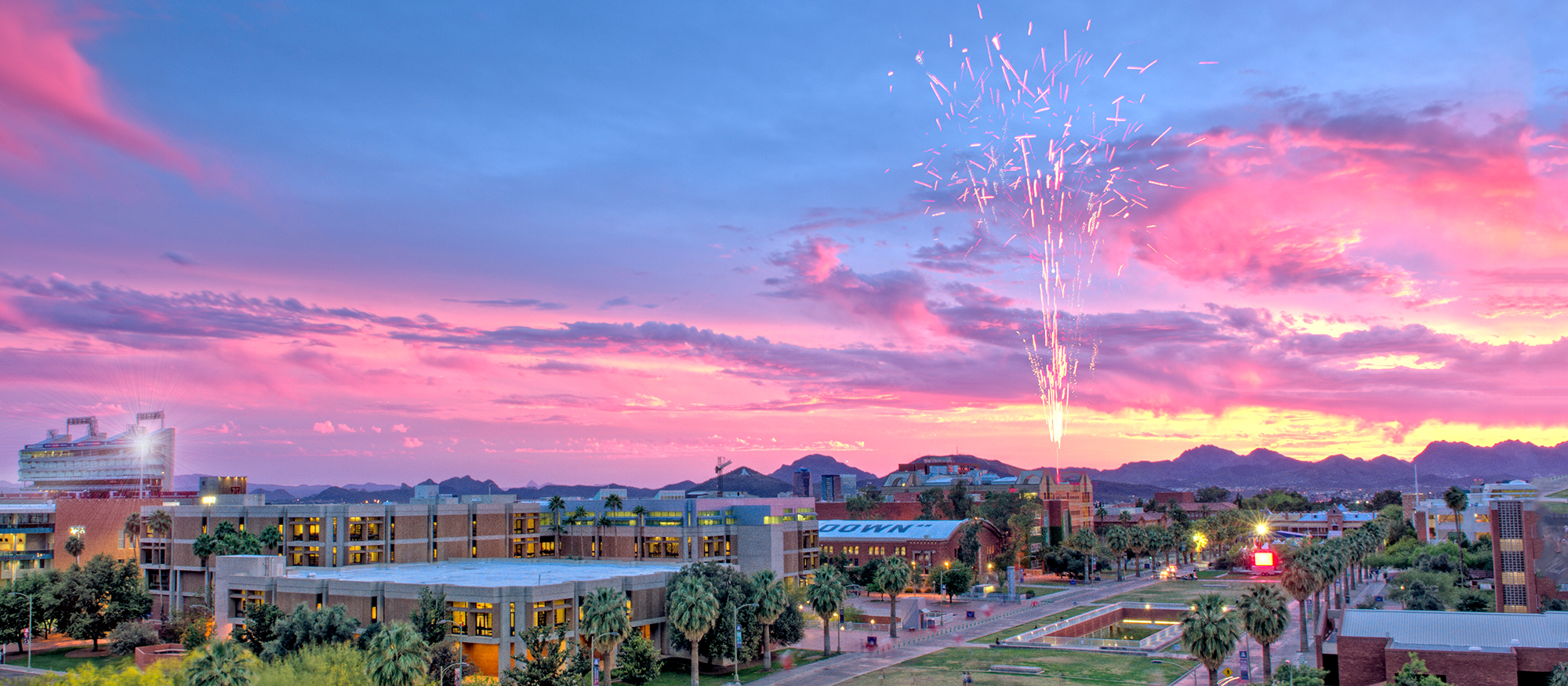 University of Arizona campus and fireworks - Talent Applicant portal